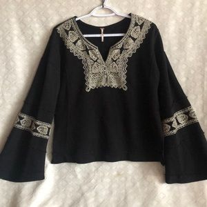 Free People gypsy BoHo cropped sweatshirt